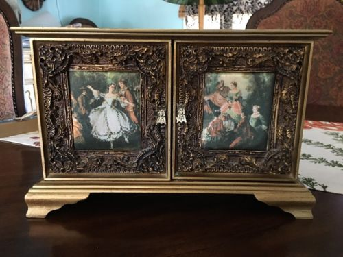 Vintage Estate Musical Jewelry Box Gold Dancers Beautiful Details