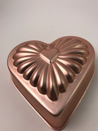 Aluminum Heart Jello Mold or Cake Pan Light Copper Color