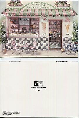 VINTAGE PINK ROSES GARDEN FLOWERS PRINT 1 ICE CREAM SODA CANDY SHOP TOPIARY CARD