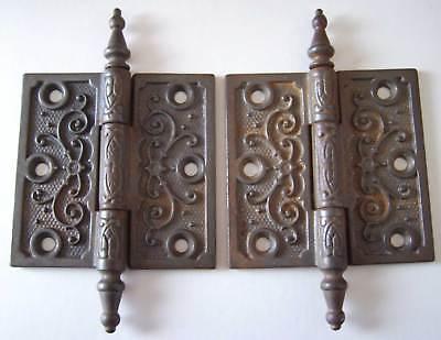 Antique Pair of Door Hinges - Steeple Finials - 3.5