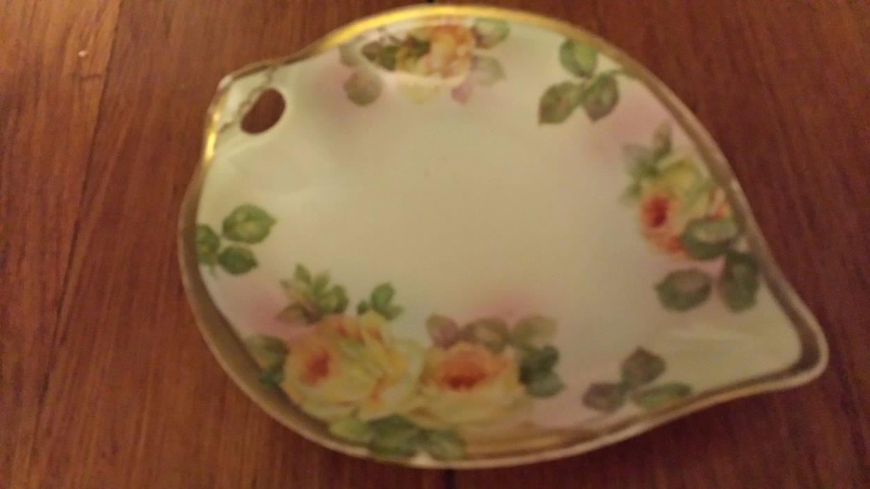 Vintage Weimar Germany Hand Painted Leaf Dish or Tray 7-1/8