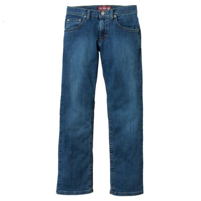LEE PREMIUM Boys Medium Faded Regular-Fit Straight-Leg Jeans Size 12