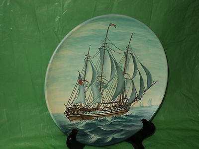 Decorative  Sail Ship Design  Display Plate w/ Two Flags & Blue Sails