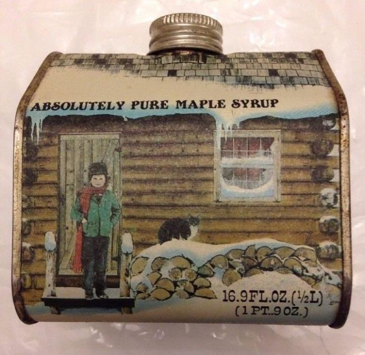 EMPTY TIN New England Container Co Vermont Absolutely Pure Maple Syrup Log Cabin
