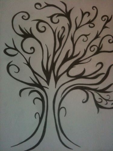 Thumbprint tree Hand drawn