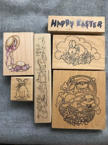 Lot Of 6 Easter Stamps Bunny Wood Mount Rubber Stamps