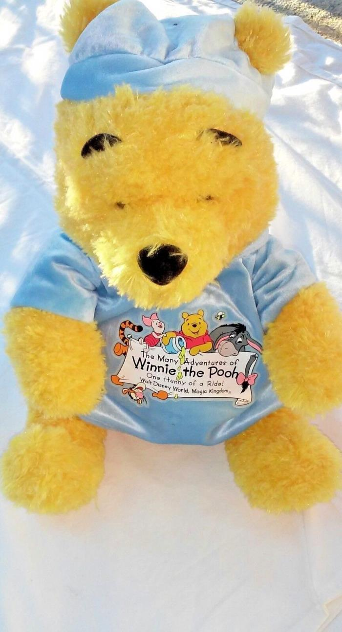 winnie the pooh backpack,pillow plush,blue top and hat,17 inches tall