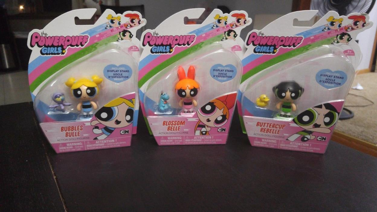 POWERPUFF GIRLS ACTION FIGURES LOT OF 3 BUBBLES BUTTERCUP & BLOSSOM *BRAND NEW*