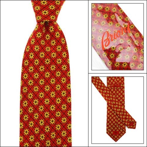 New BRIONI Italy Dark Red Geometric Floral 3.25