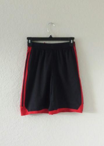 Adidas black red 3 stripes shorts athletic fitness workout boys medium 10/12