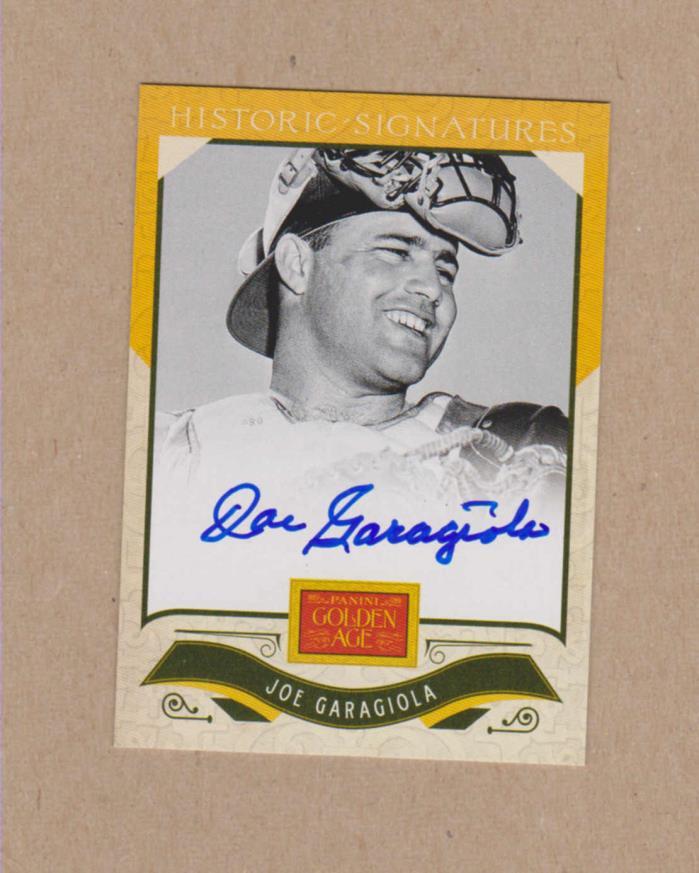 Joe Garagiola signed 2012 Panini Golden Age certified card -Broadcaster (Dec)