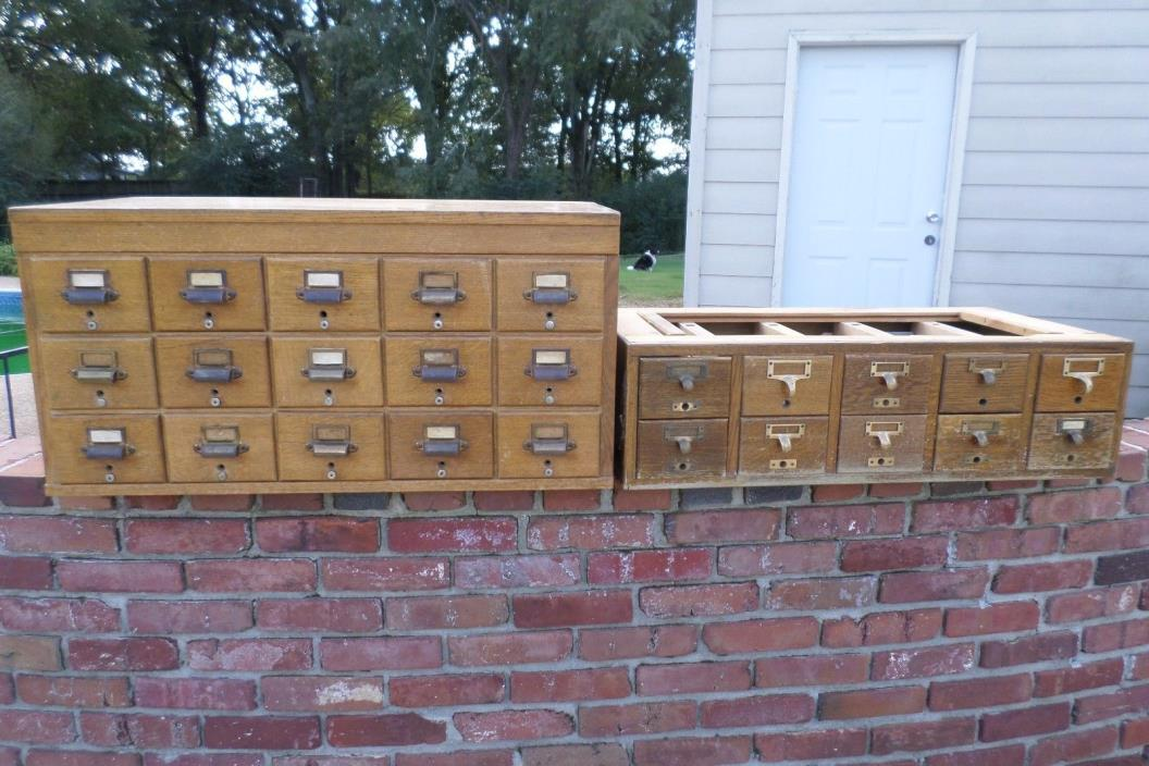 2 Vintage Card Catalogs 10 and 15 Drawer  library card catalog