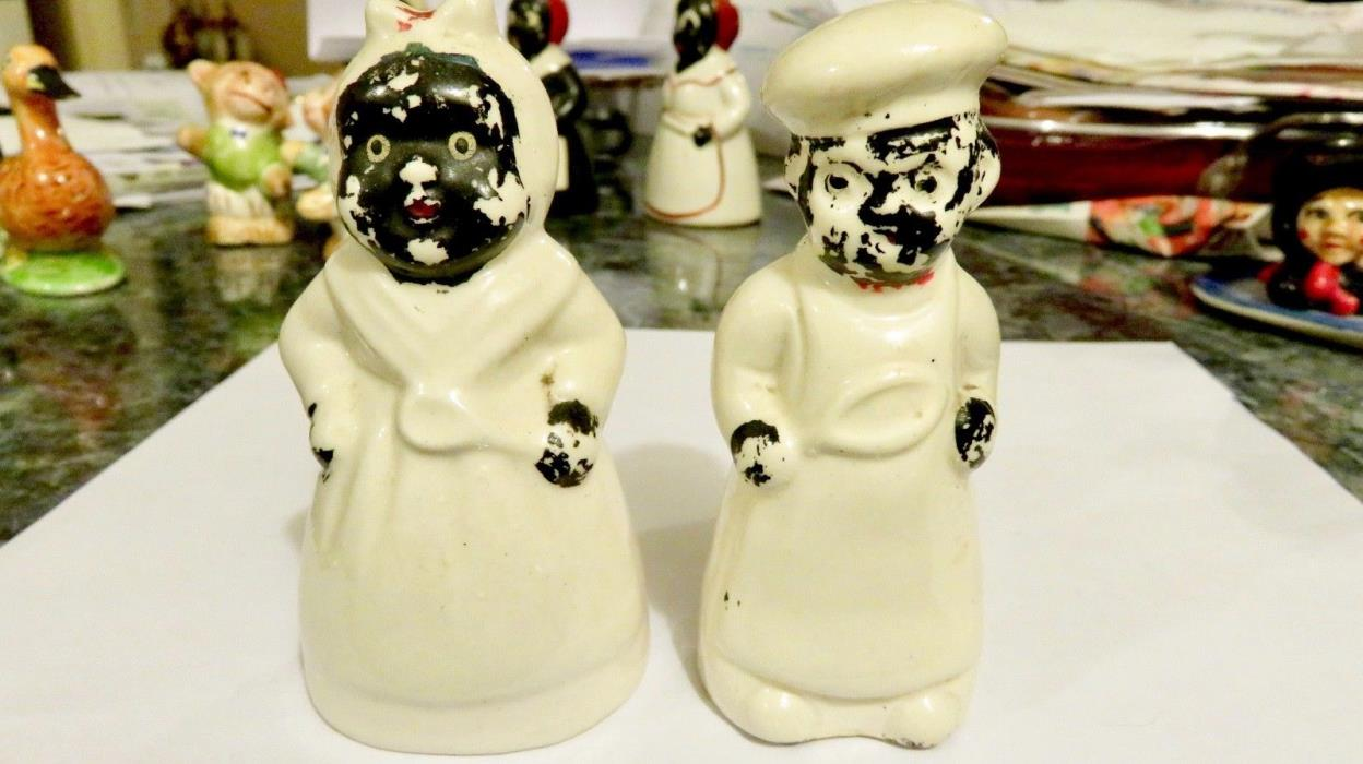 VERY OLD VINTAGE BLACK AMERICANA LADY COOK and CHEF SALT & PEPPER SHAKERS- JAPAN