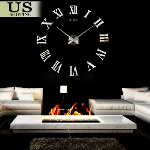 Modern Design Home Decor 3D DIY Time Wall Digit Number Room Decoration Clock AS
