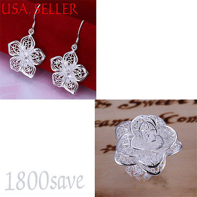 925 Sterling Silver Filigree Large Rose Flower Ring + Earrings S127