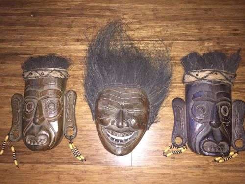 3 Decorative Wood Wooden Masks Tribal Primitive African Theatre