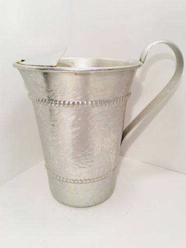 Vintage 1950's Gailstyn Hammered Aluminum Water Pitcher Ice Lip Arched Handle