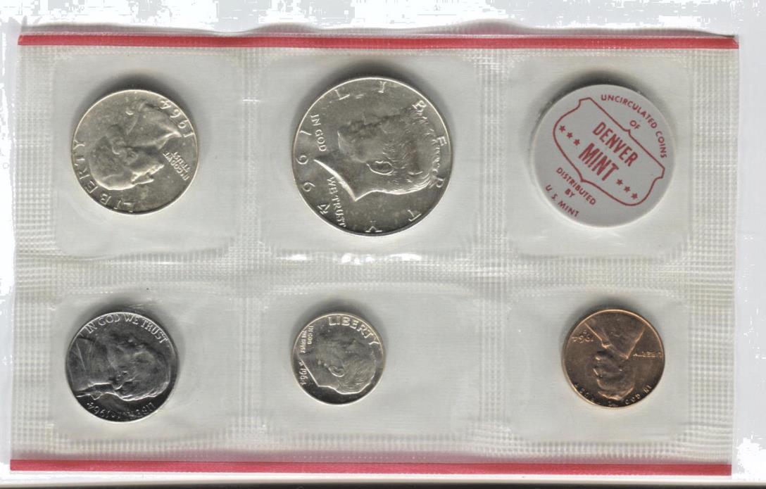 1964 United States Collector's Set 10 Coins in original cello wrap UNC P&D COA