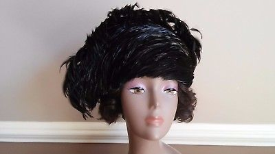 Vintage Jack McConnell Black Feather Plume Church Dress Kentucky Derby Hat