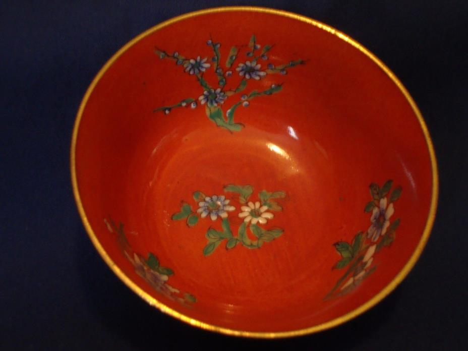 Small Orange Bowl with Flowers for Accent Decor Charming  4 1/2