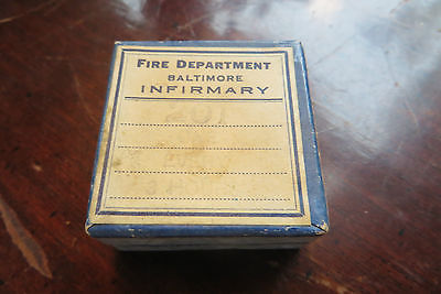 Fire Department, Infirmary cardboard pill box, old, Baltimore