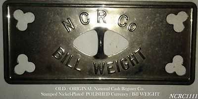 OLD NATIONAL CASH REGISTER CO. DRAWER CURRENCY / BILL PAPERWEIGHT - POLISHED!