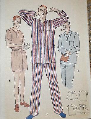 Vintage 1950s Butterick 5546 Mens Pajamas PJs Pattern sz M 38-40 Uncut
