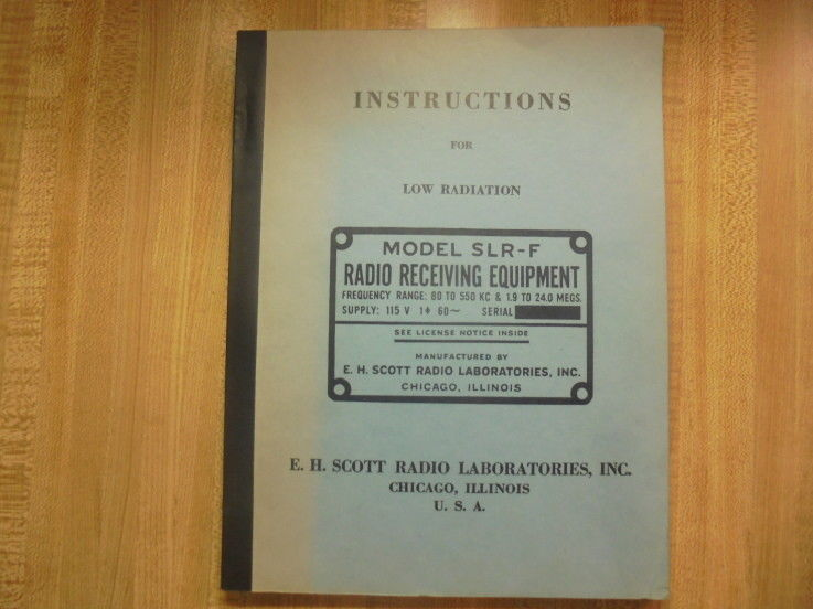 SCOTT ORIG. MOD. SLR-F MANUAL & THE SCOTT TUNING GUIDE, PARTS, PICS. SCHEMATICS