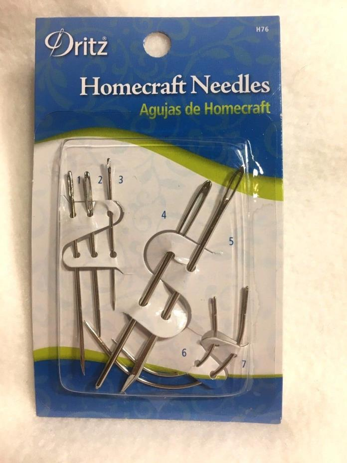 DRITZ 2 Homecraft Needles Pack of 7 Home Repair and Sewing Needles H76 NEW