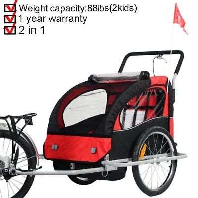 2 in 1 Bicycle Carrier Double Infant Child Baby Bike Trailer Jogger Stroller FH