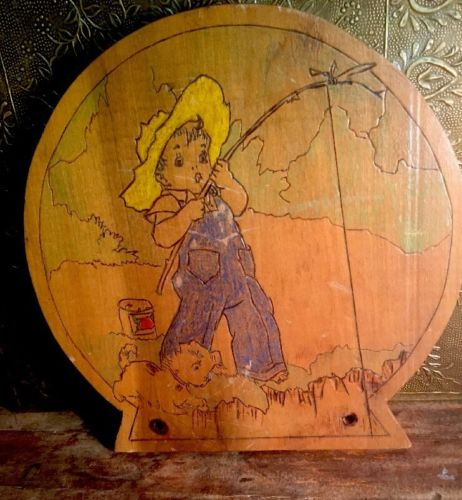 Vintage Folk Art Etched Wood Little Boy Fishing With Pup Wooden Potty Chair Lid