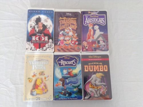Lot of 6 WALT DISNEY Classics VHS Movies Tapes in Clamshell