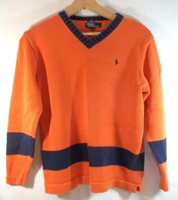 Polo Ralph Lauren Sweater Orange Blue Pony Stripe L Boys V Neck