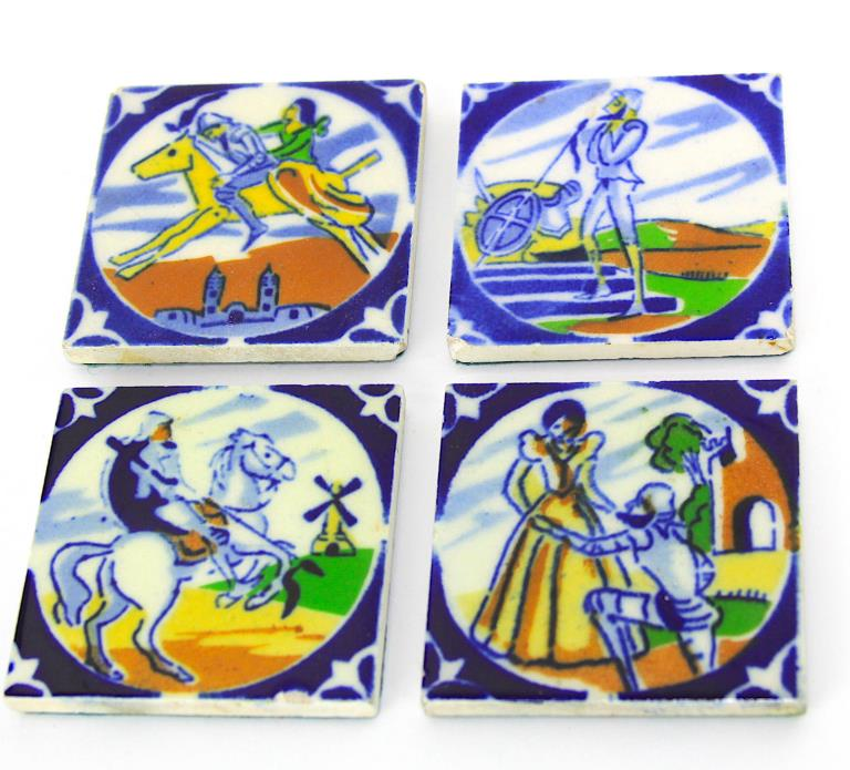 Set of 4 Antique DON QUIXOTE Delft Spanish Ceramic Cobalt Blue  3