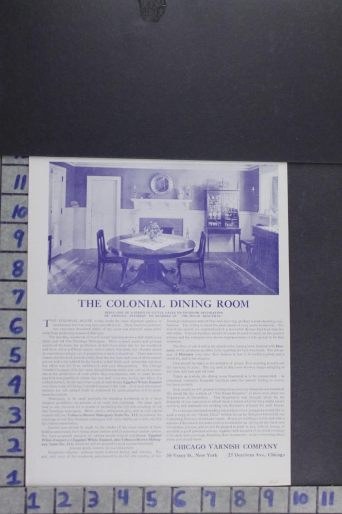 1907 EDWARDIAN ARCHITECTURE COLONIAL DINING ROOM DECOR PAINT VINTAGE AD EF007