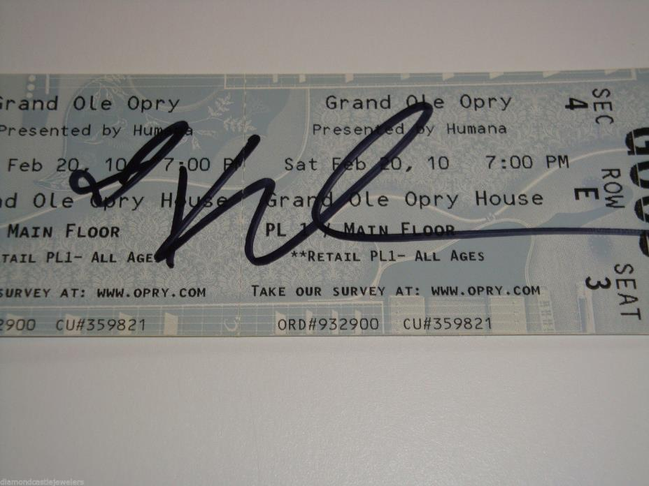 KELLIE PICKLER AUTOGRAPH SIGNED GRAND OLE OPRY CONCERT TICKET FEBRUARY 2010