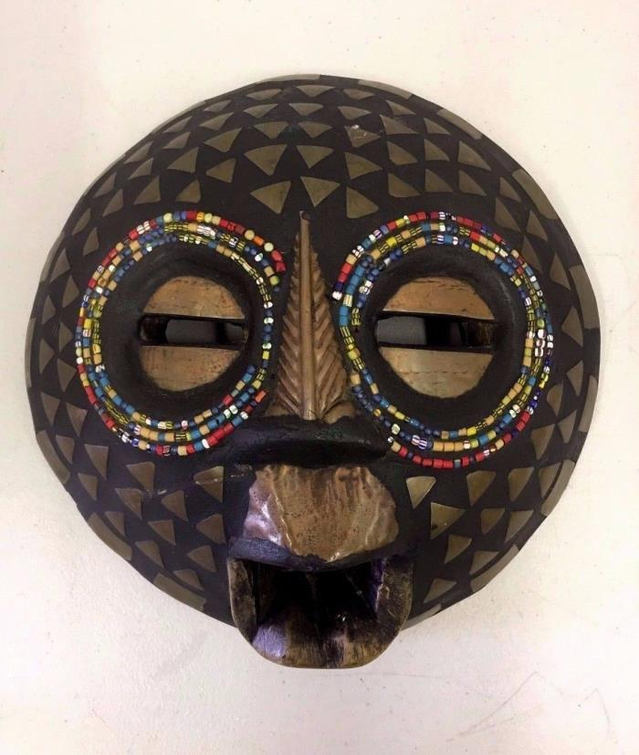 West African Ghana Tribal Wood Hand Carved Metal Bead Mask Round Moon Face
