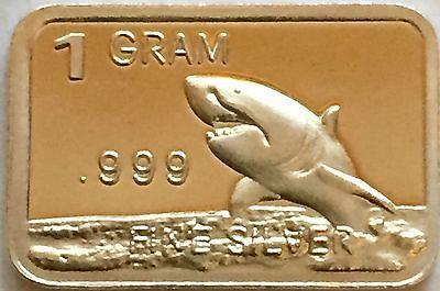 1 Gram .999 Fine Pure Solid Silver Bar / Shark