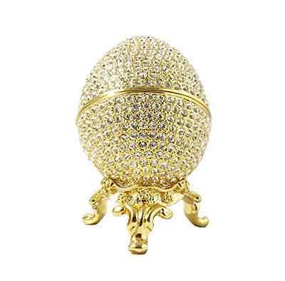Faberge Egg Proposal Trinket Box Ring Holder 24k Gold Plated Swarovski Crystals