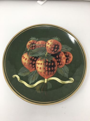 Raymond Waites For Toyo Trading Decorative Plate, Green W/ Strawberry Bunch, 10