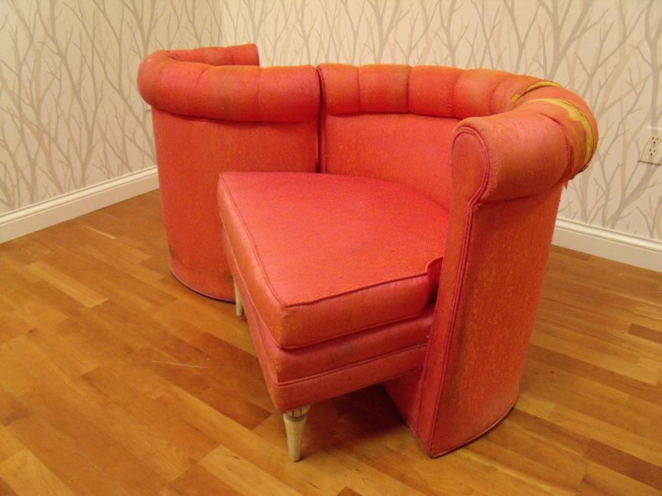 Pair Chairs Rare Tete a Tete Hollywood Regency Glam Dorothy Draper Era MCM