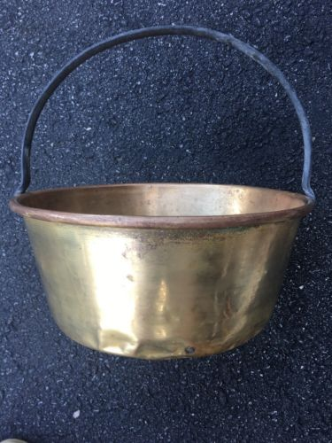 Antique brass jelly Bucket kettle fireplace pail  Displays Well  Used as is
