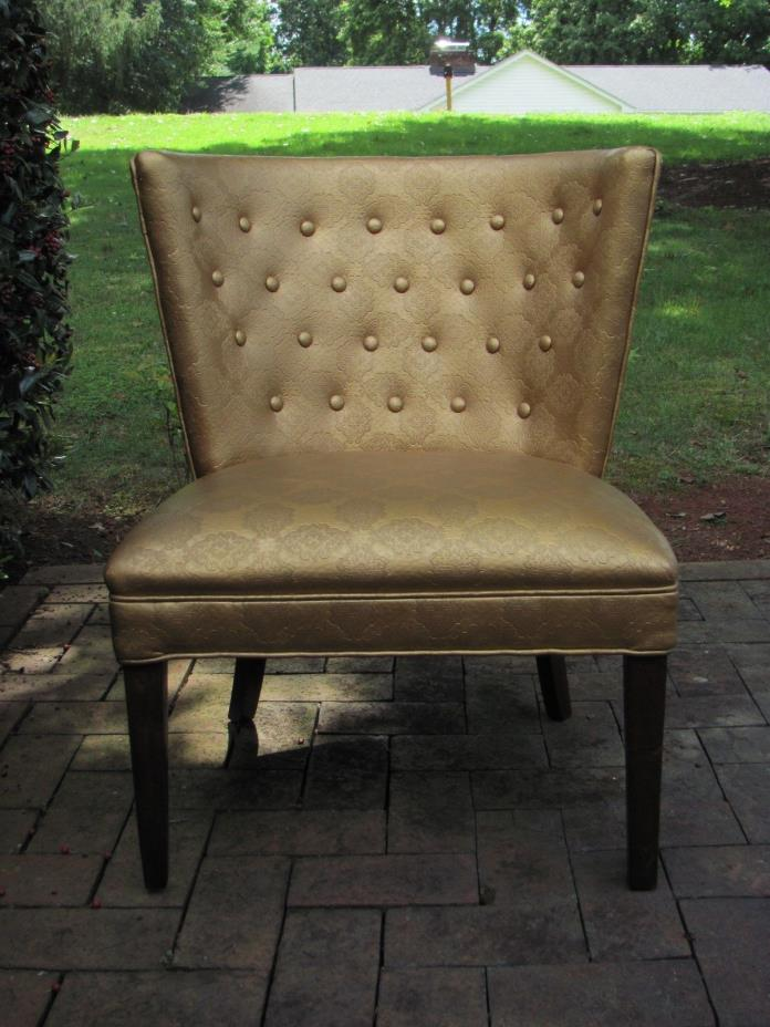 Mid Century Modern Glamour Barrel Back Lounge Chair in Gold