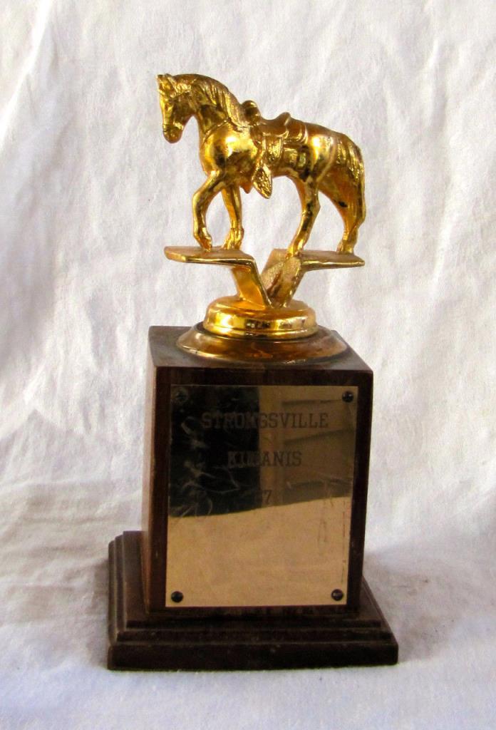 Vintage 50s Horse Show Trophy Strongsville Kiwanis 1957 wood Ohio Steiner Trophy
