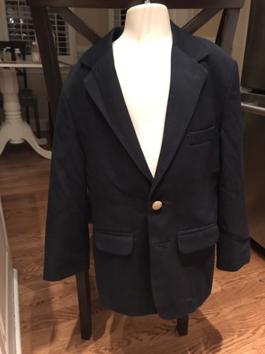 Boys Savane Navy Blue Lined Blazer Jacket Gold Buttons Size 8 Year Round