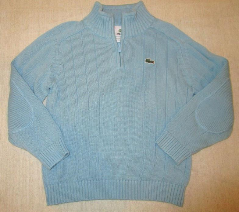 Excellent Boys LACOSTE 100% Cotton 1/2 Zip Pullover Sweater Top  Size 6
