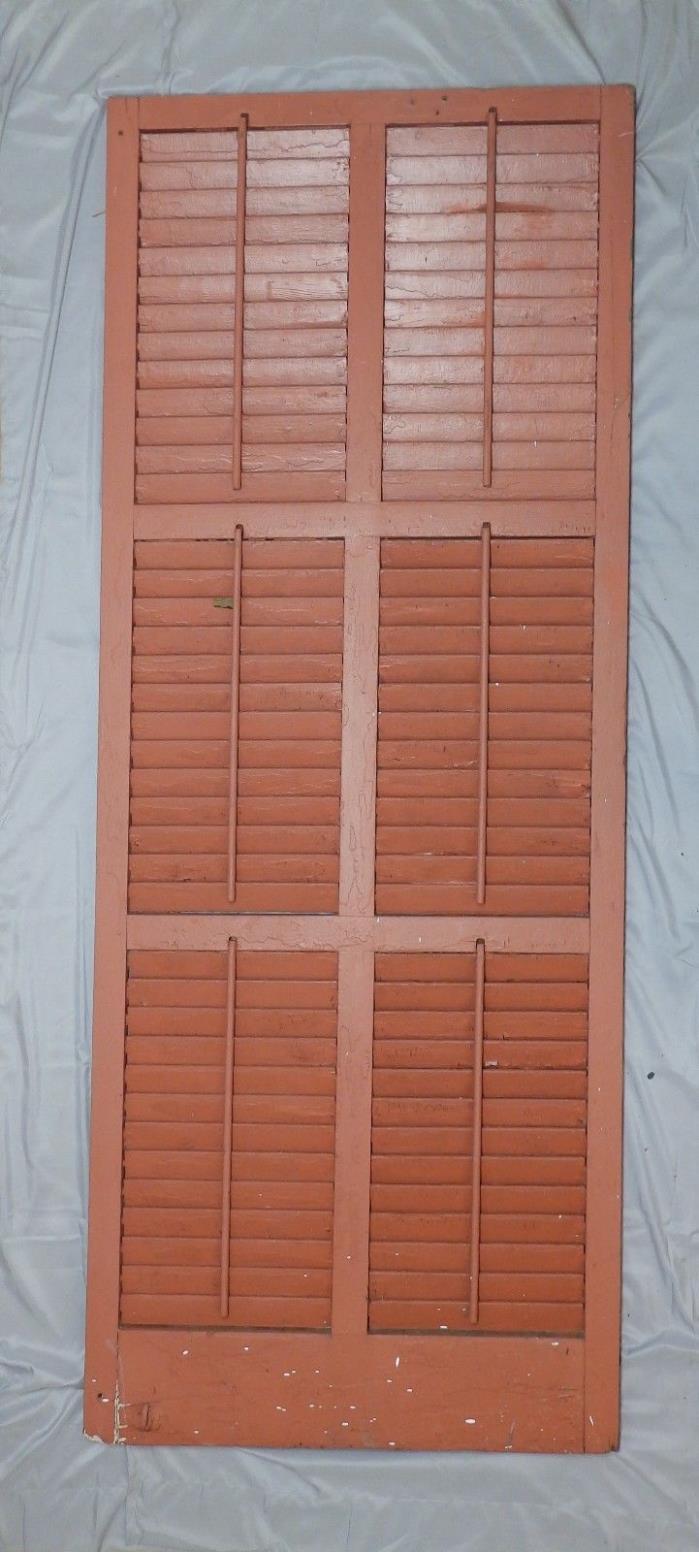 Single Large Wide Antique Shutter Door Window Louvered Vtg Shabby 79x31 50-18P