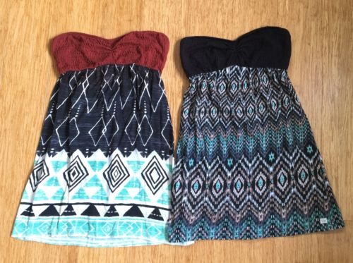 BILLABONG Dress Lot Strapless 2 piece lot Tribal Geometric Womens Juniors Size S