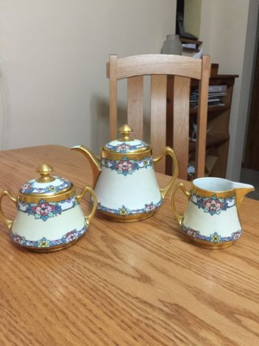 Tea Pot w/ creamer & sugar Porcelain & Enamel E B. MERRILL , Czech antique