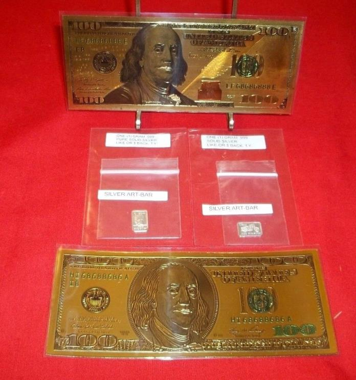 two 24K Gold Foil $100 Novelty Bills, two 1 Gram Silver Bars